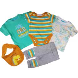 kesäsetti 2 t-paitaa, body, housut ja huivi vauvalle